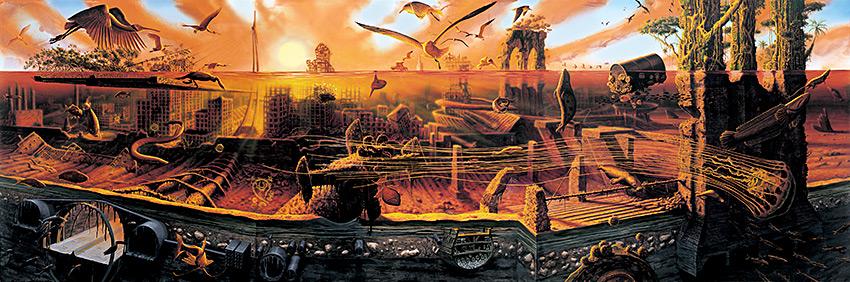 Alexis Rockman. Manifest Destiny, 2004, oil on wood, 96 x 288 in.